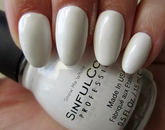 Sinful Colors Snow Me White, nail polish, swatch, @girlythingsby_e
