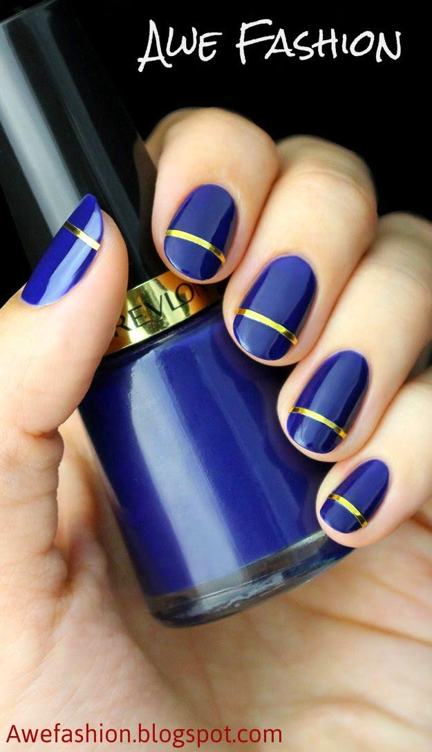 Indigo Blue and Gold Striped Nail Tutorial at Awefashion.blogspot.com