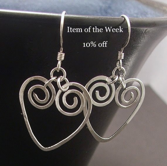 Silver Spiral Heart Earrings