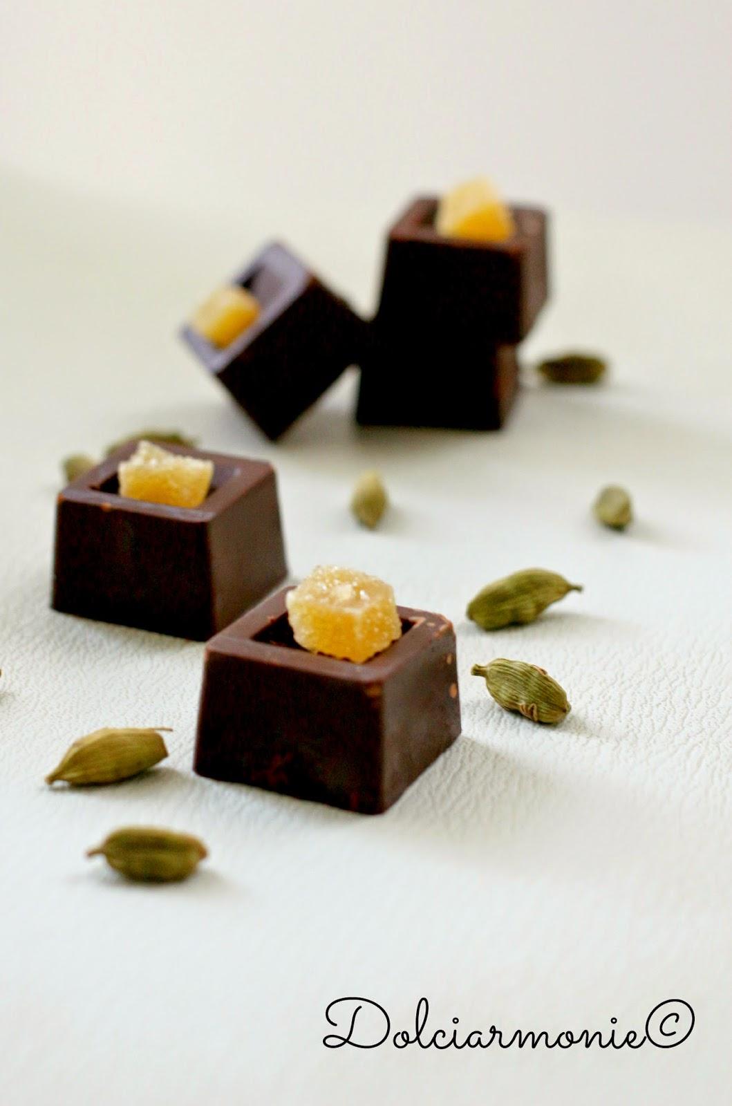 cioccolatini al cardamomo e zenzero caramellato e buona festa della donna