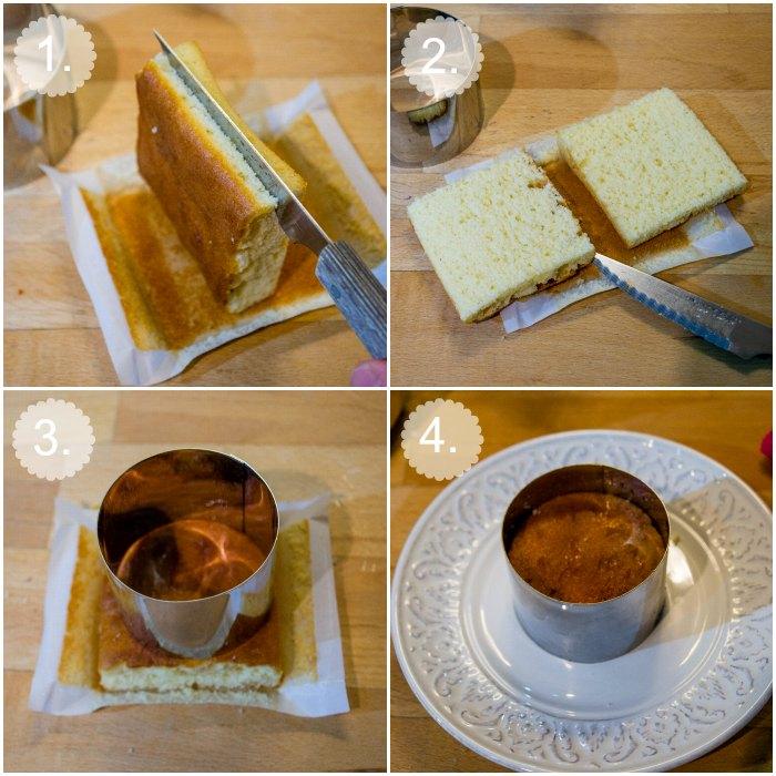 Montaje de los pastelitos borrachos de sobaos y crema pastelera