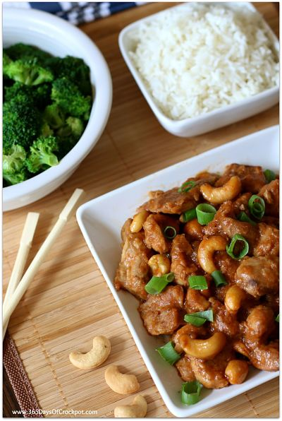 This crockpot cashew chicken is just as good as your favorite Chinese restaurant.  It's super easy and flavorful all made in the comfort of your own kitchen.