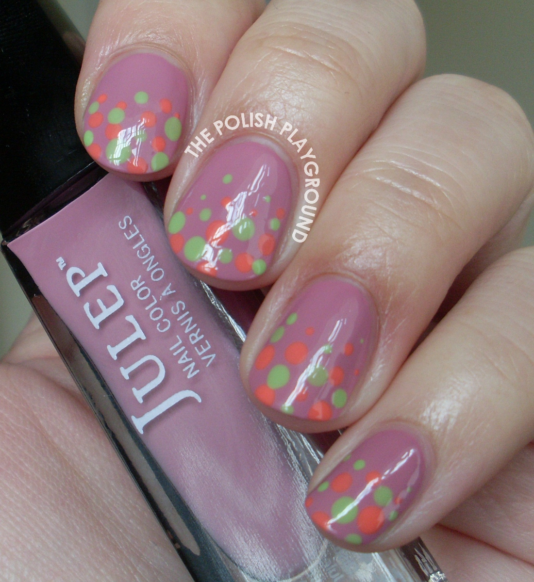 Green and Coral Polka Dot Gradient Nail Art