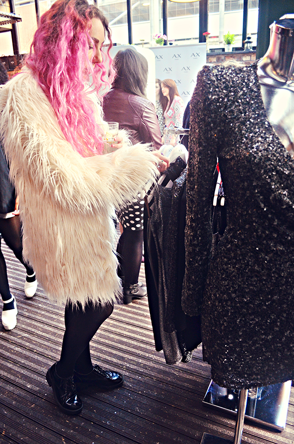 AX Paris Press day a/w 14, stephi lareine, fur coat, pink hair, sequin dress, fashion blogger event, manchester, black dog ballroom