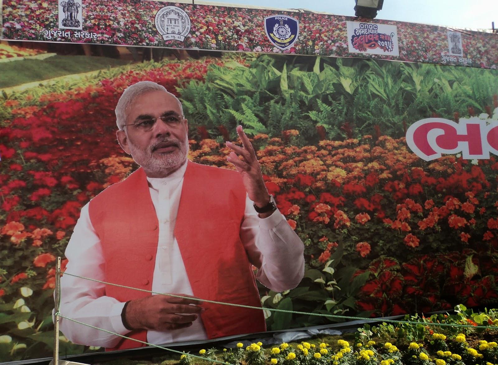 narendra modi poster flower show ahmedabad