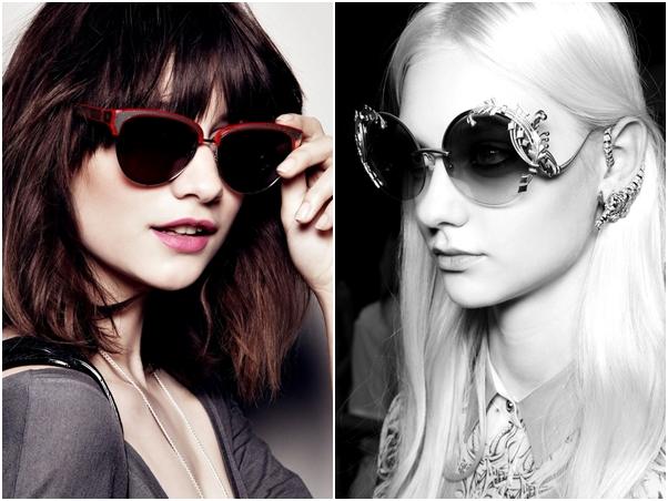 Óculos Diferentes Tendência Gatinho Redondo Aplicação Lateral