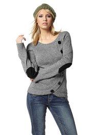Pullover grau schwarze Flicken an Ellenbogen Quelle.ch