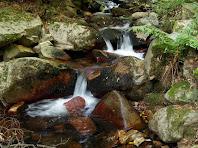 Cascada amb les pedres tenyides de ferro més amunt del Clot de l'Infern