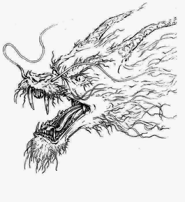 Dragon head tattoo stencil