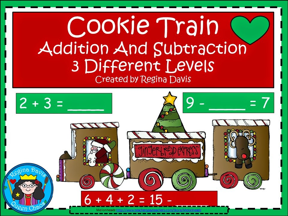 http://www.teacherspayteachers.com/Product/A-Christmas-Cookie-Train-Addition-and-Subtraction-Practice-1597863