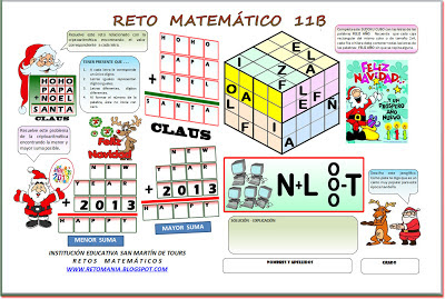 Retos Matemáticos, Problemas Matemáticos, Desafíos Matemáticos, Problemas de Ingenio, Criptoaritmética, Alfamética, Sudoku, Jeroglíficos, Problemas de Pensar