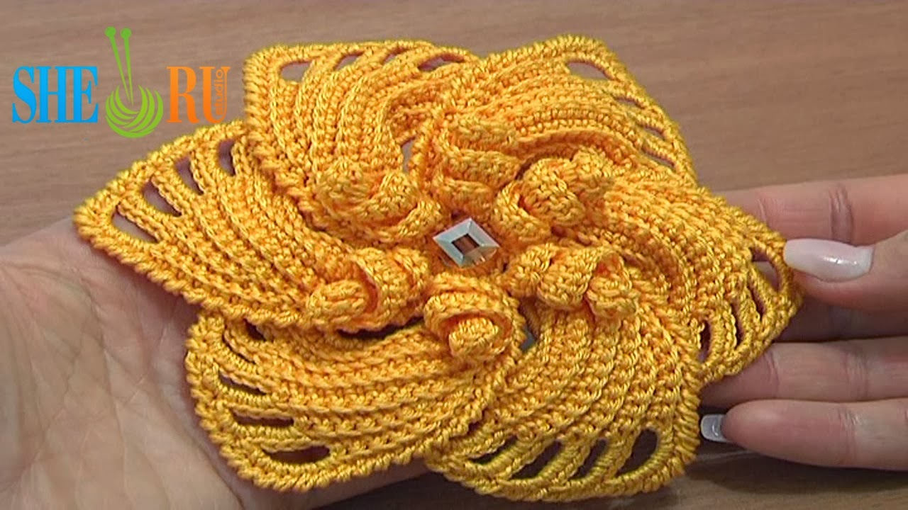 Sheruknitting: Crochet 6-Petal Flower Tutorial 59 Part 1 and 2