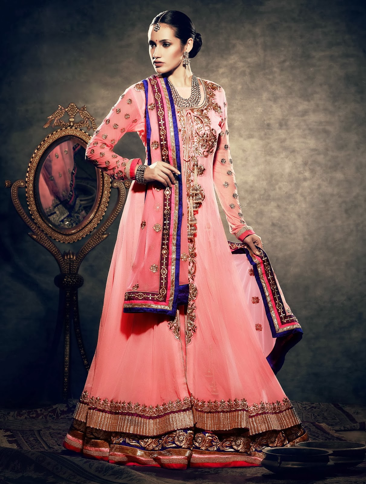 Peach Color Wedding Dress Indian