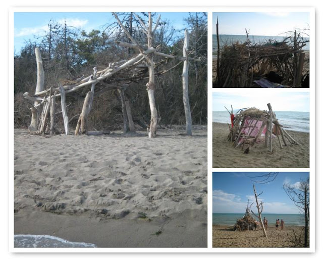 Beach hut building - anything goes at the Maremma national park beach