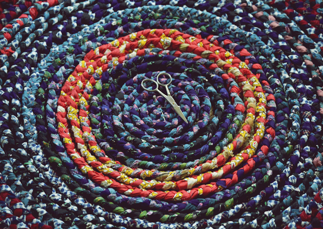 The Flying Clubhouse: Around the Clubhouse // braided rag rug
