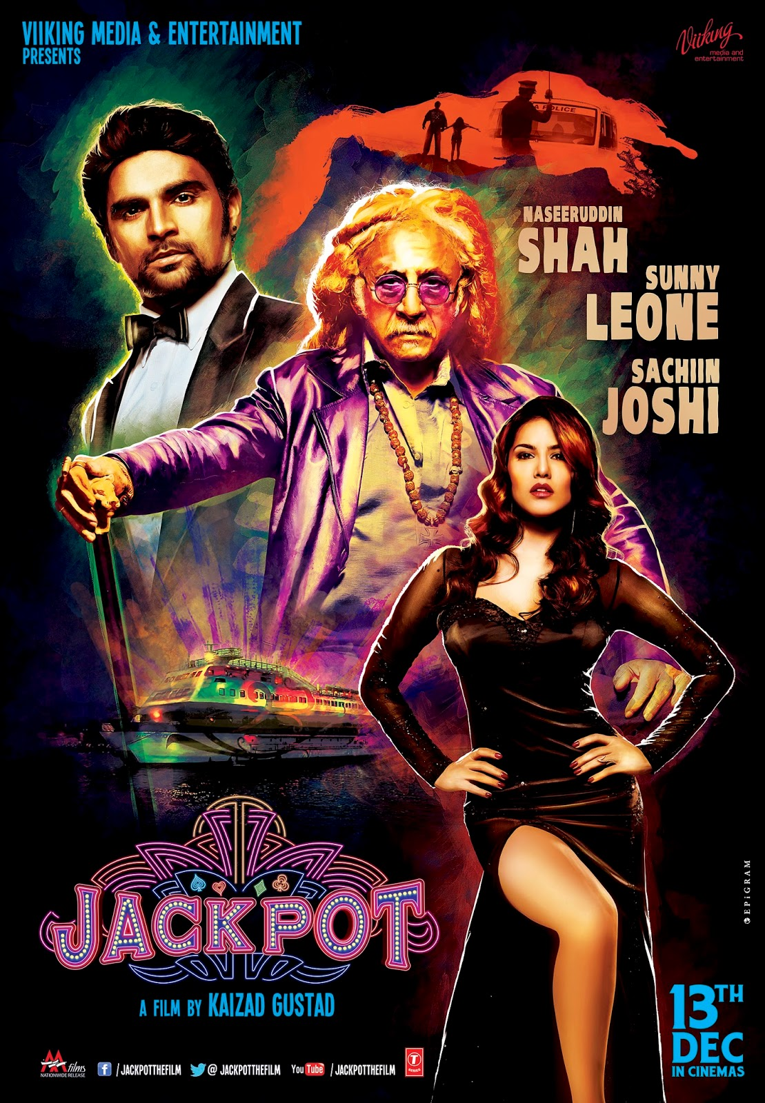 sunny leone , sachin joshi, naseeruddin shah in jackpot movie poster