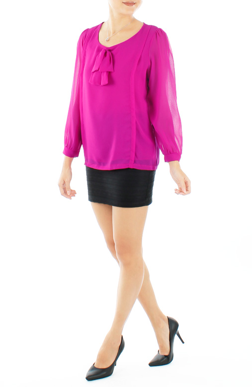 Fuchsia Enchant Double Bow Blouse with Long Sleeves