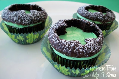 St. Patrick's Day Clover Cut Out Cupcakes...so easy & cute!  KitchenFunWithMy3Sons