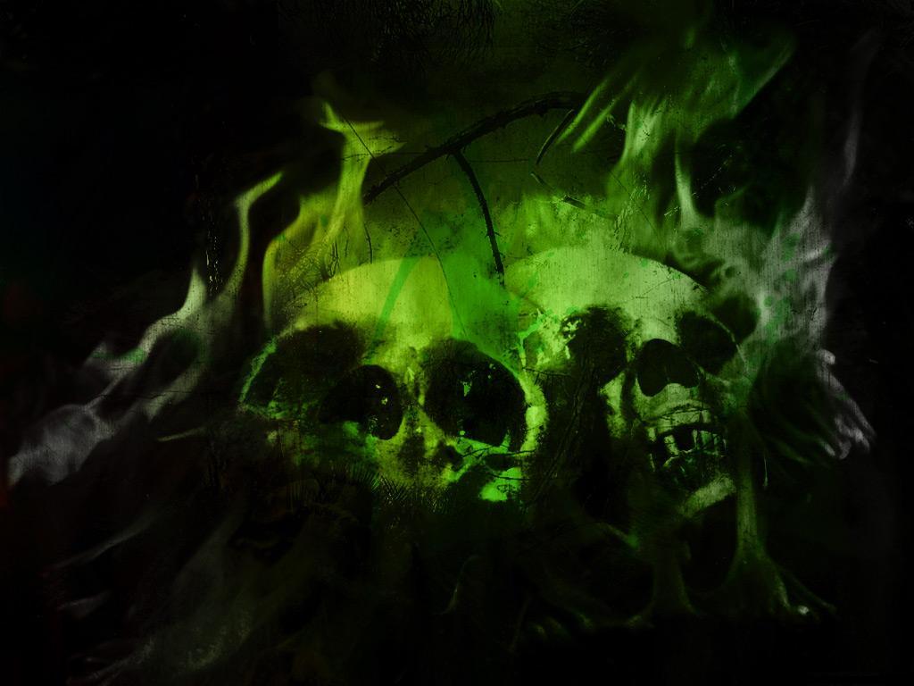 Flaming Skulls Wallpaper