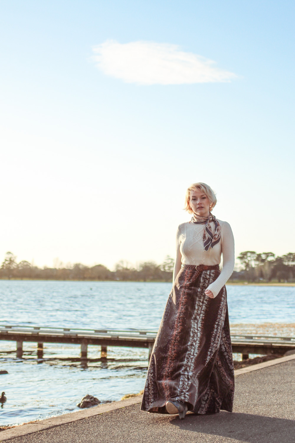 @findingfemme in winter Alannah Hill sweater, vintage velvet maxi skirt and vintage scarf at Wendouree Lake.