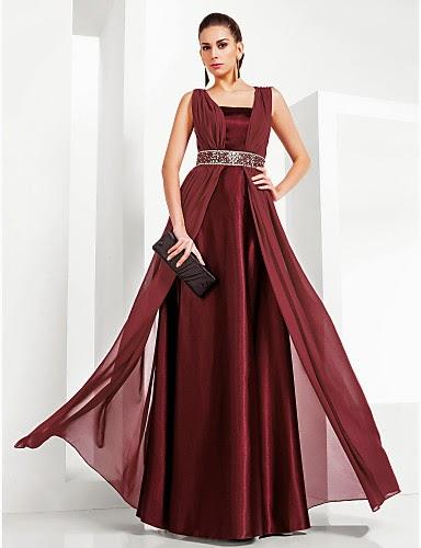 Vestido de Noche Gasa y Satén Corte Columna