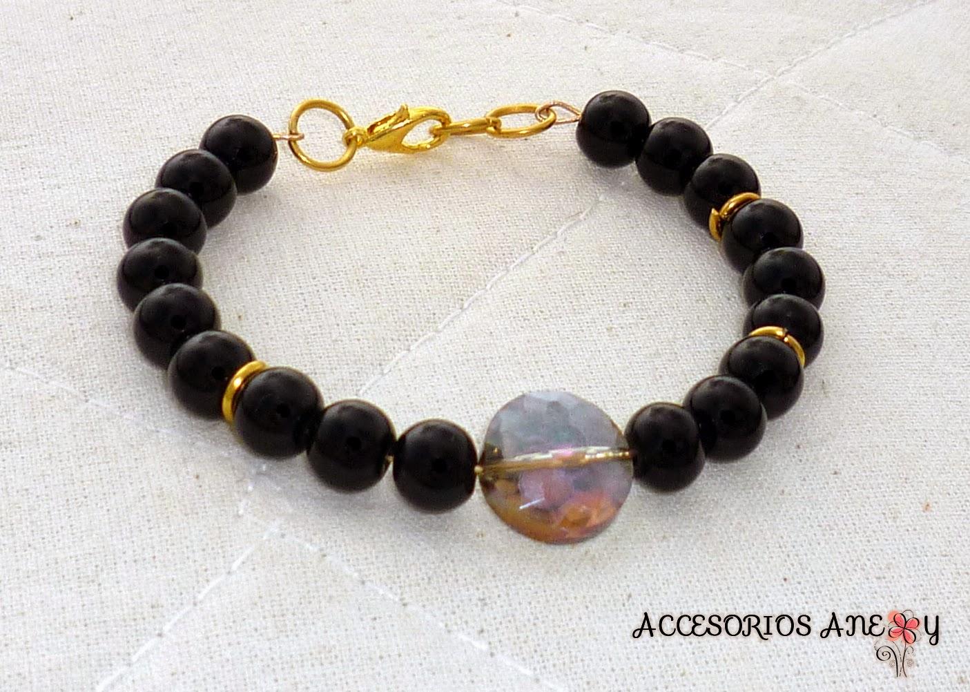 Pulsera de perlas negras con Cristal de swarovski