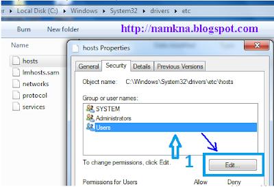 Cách sửa file host của hệ điều hành win 7