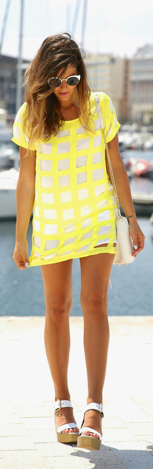 White and Yello Checked Style Dress with Chic Shoes | Summer Outfits