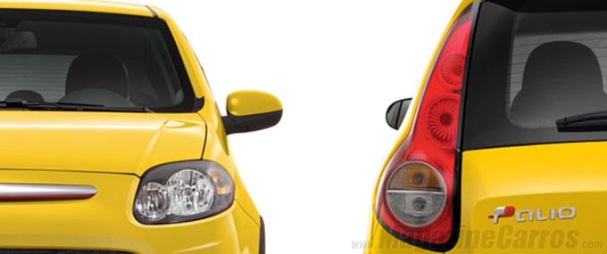 Frente e traseira do Novo Palio Sporting 2014 amarelo