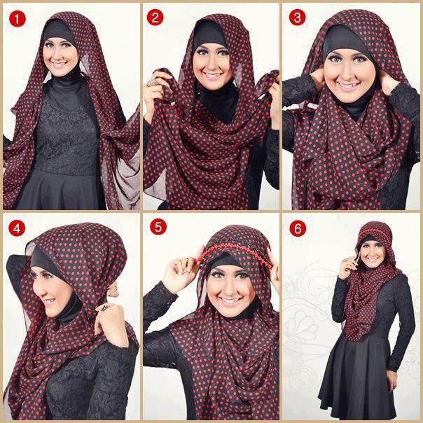 Cara Memakai Jilbab Paris Pesta