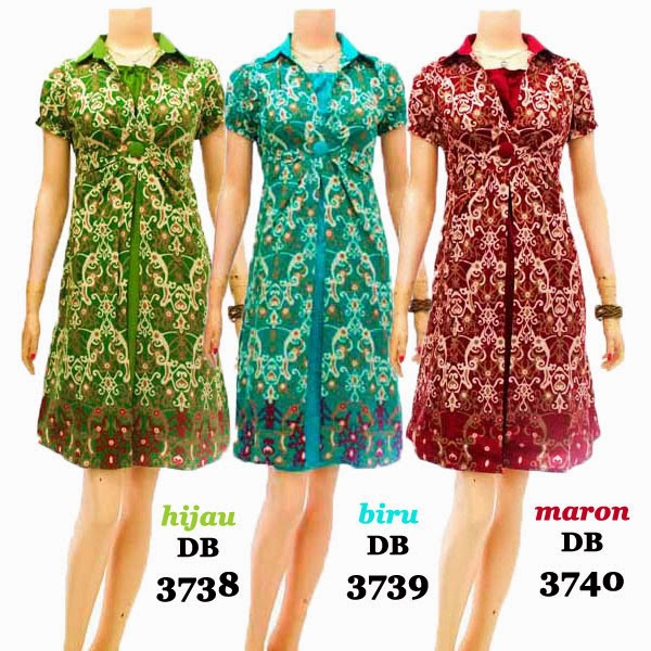 DB3738-3740 Mode Baju Dress Batik Modern Terbaru 2014