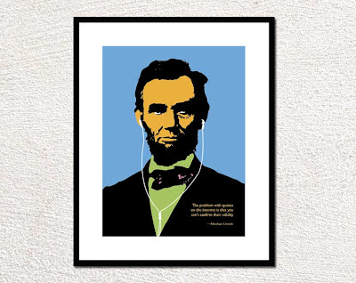 Abraham Lincoln illustration wearing ipod ear buds framed