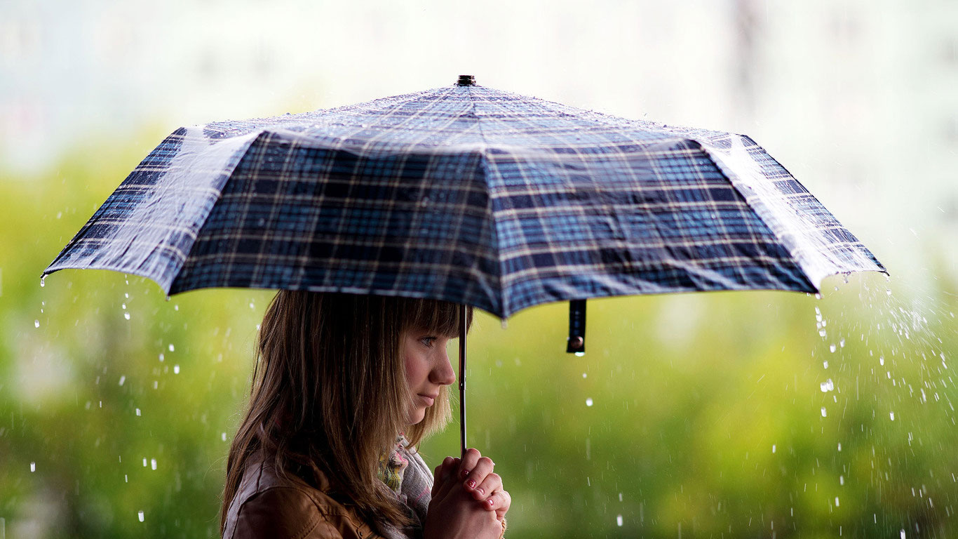 Girl Umbrella Rain Wallpaper