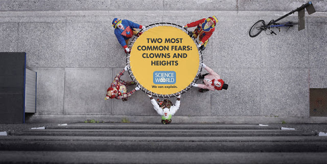 The two most common fears: Clowns and heights
