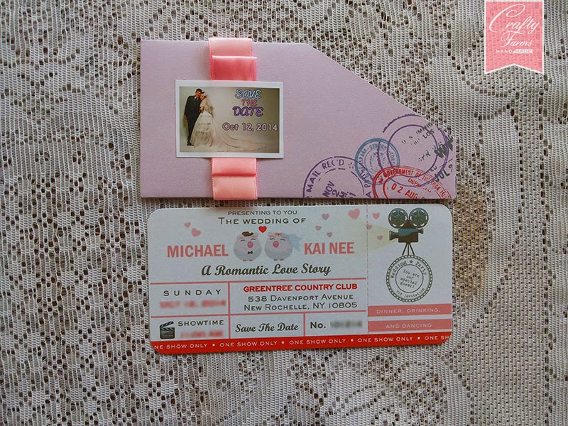 wedding card with cartoon illustration boarding pass wedding invitation card with photograph printing lilac purple movie ticket - Movie Ticket Wedding Invitations