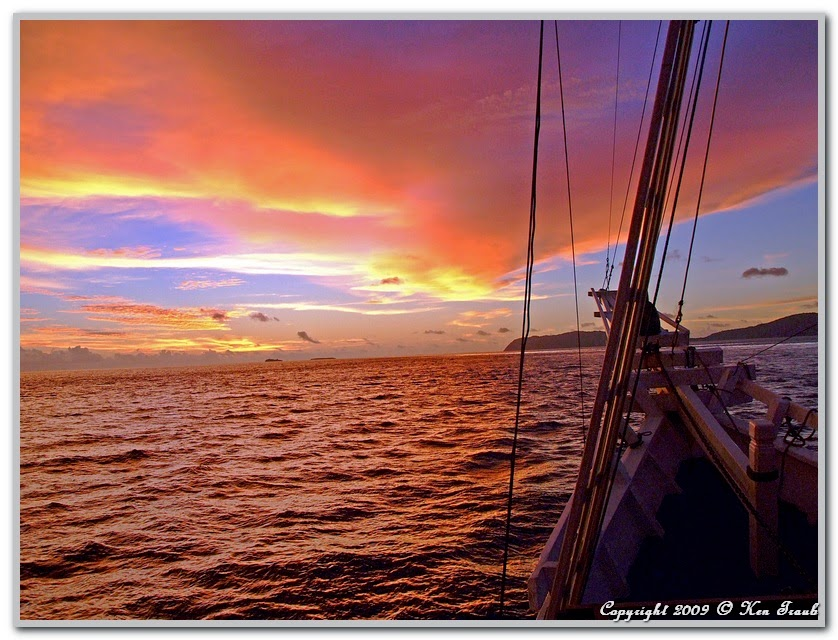 Beautiful Raja Ampat Sunset View from Boat