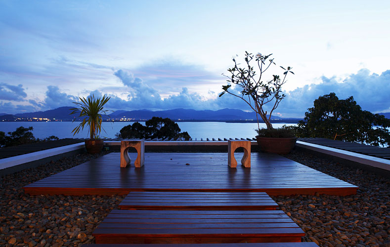 Photo of sitting bench with the view at modern villa in Phuket