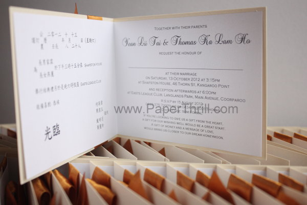 Gold ribbon floral wedding invitation cards