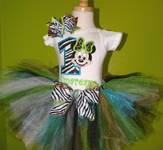 Leopard n Zebra Minnie Mouse Girls Birthday Tutu Outfit
