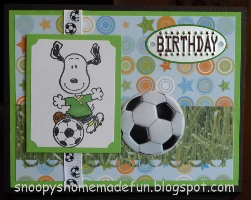 snoopy's homemade fun snoopy tuesday  soccer birthday card, Birthday card