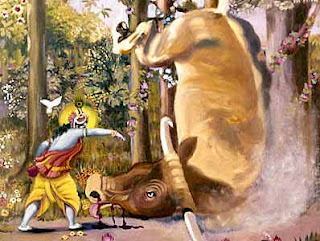 Krishna seizing and breaking the neck of the bull demon who came at duck to attack him and sent the cattle, cowherds ad cowgirls into panic flight. Pahari painting, nineteenth century, Bharata Kala Bhavan, Banaras Hindu University.