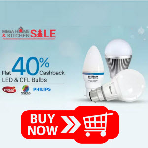 Paytm : Buy CFL And LED Lights At upto 50% off  + Extra 35% Cashback – Buytoearn