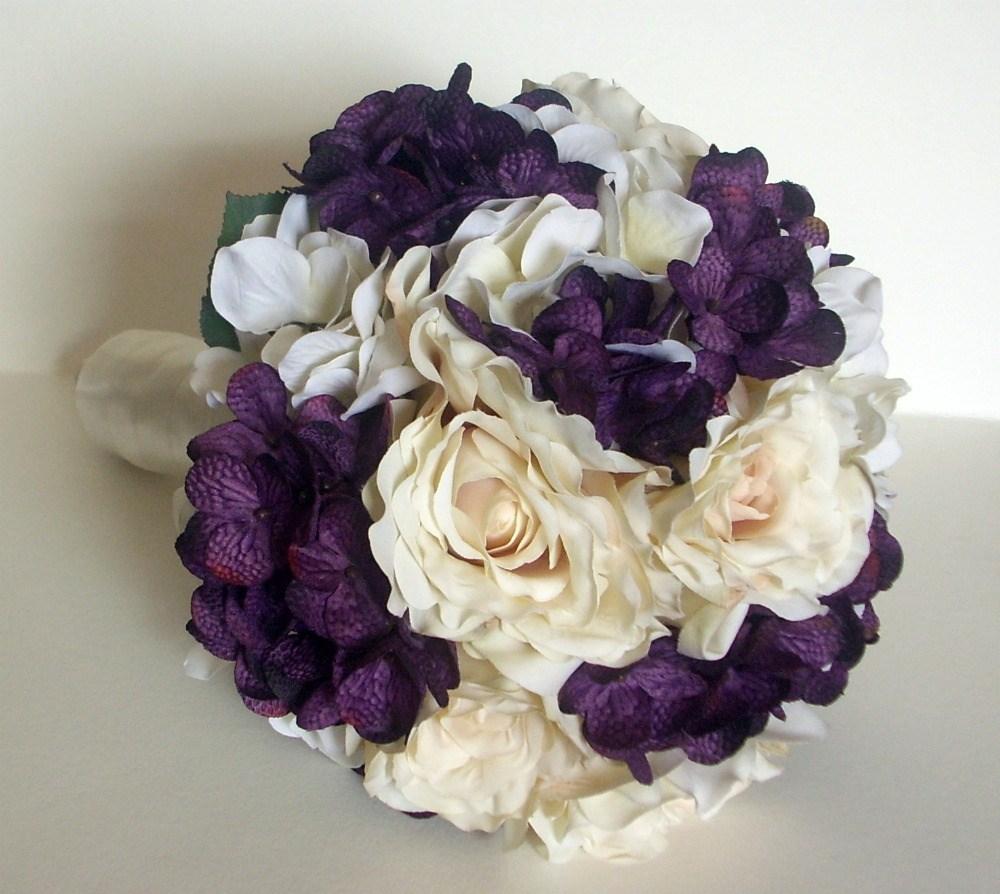 Silk Bridal Wedding Bouquet With Burgundy Eggplant And