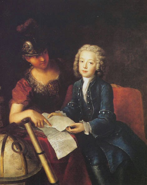 Jean-Philippe Baratier attended by Minerva by Antoine Pesne, 1735
