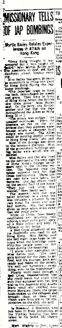"Climbing My Family Tree: ""Missionary tells of Bombings"" 21 September 1942, The Findlay Republican Courier, p. 3"