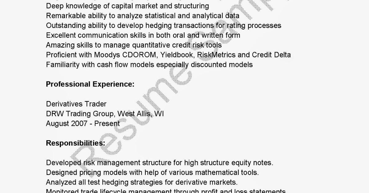 resume sles derivatives trader resume sle