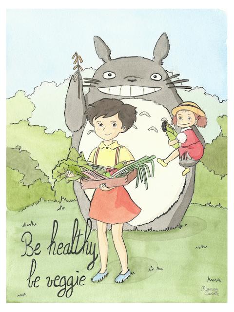 fan-art veggie de Totoro, Satsuki et Mei, d'après Mon voisin Totoro de Hayao Miyasaki, Ghibli