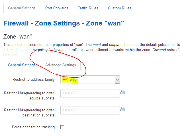 Firewall - Zone Settings to IPv4 only