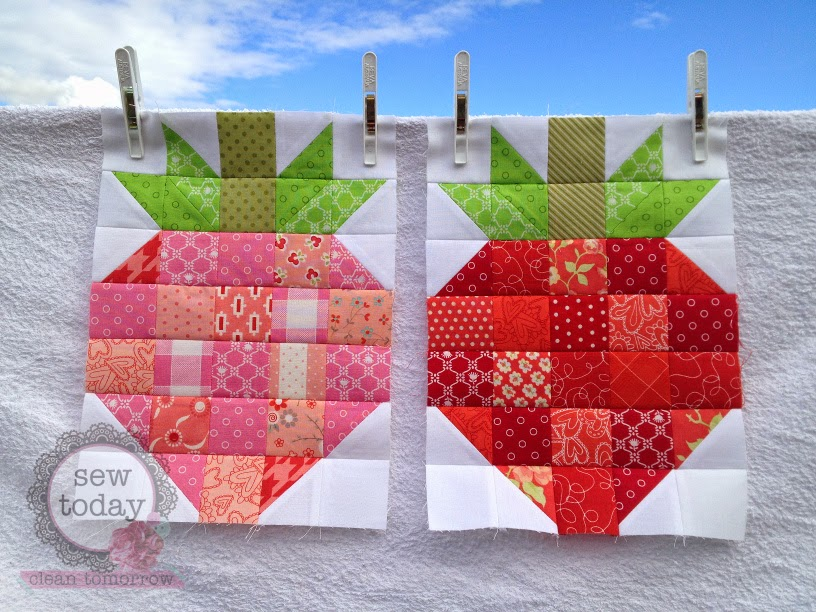 Strawberry quilt blocks