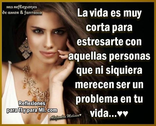 La Vida es muy corta  para estresarte con aquellas personas que ni siquiera merecen ser  un problema en tu vida.